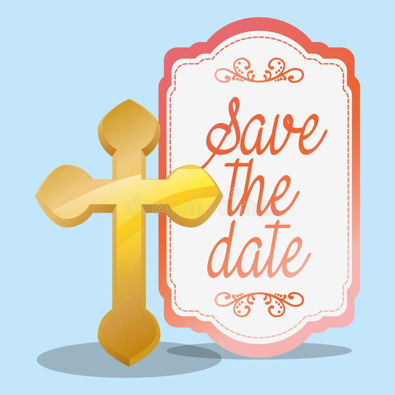 Golden cross save the date wedding greeting royalty free illustration