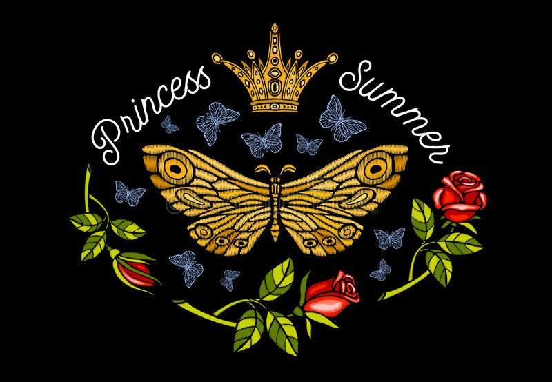 Golden crown, butterflies golden embroidery, vintage style roses stock illustration