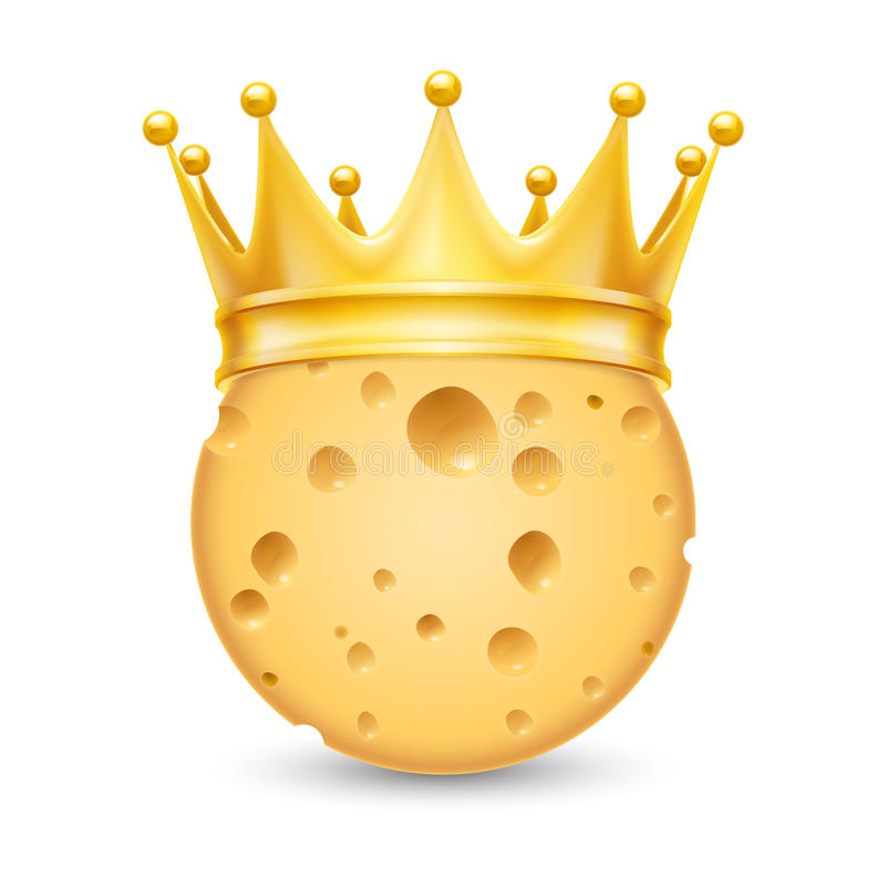 Golden crown on cheese. Golden crown on the head of cheese on white background royalty free illustration