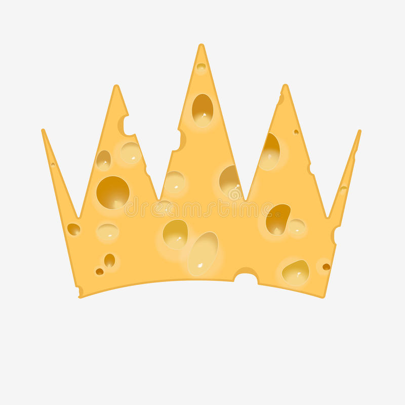 Golden crown of cheese. Golden crown of porous cheese. Isolated on white background. Flat stock illustration stock illustration