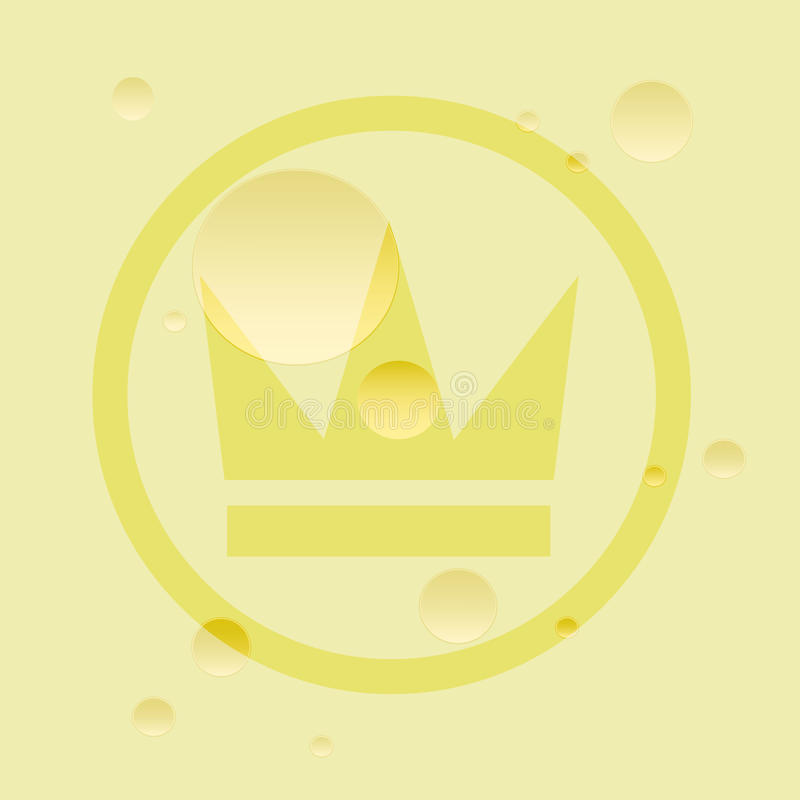Golden crown of cheese. Porous cheese with crown label. Royalty food, delicious cheese. Flat stock illustration vector illustration