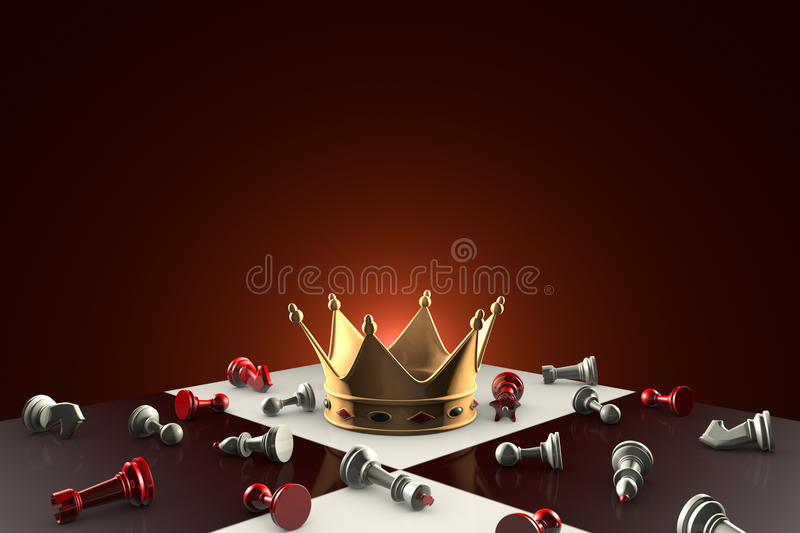 Golden Crown (fabulous dream or a symbol of power). Chess metaph. Gold crown on the chessboard. Many small chess. Dark red artistic background royalty free illustration
