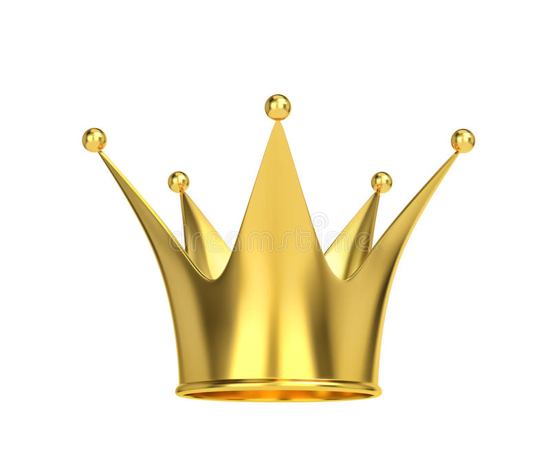 Golden crown isolated on white. 3D rendering vector illustration