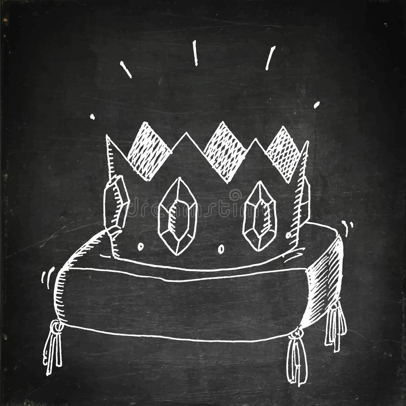 Golden crown with jewels stock illustration