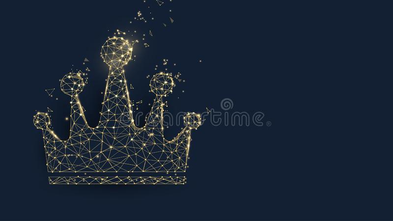 Golden crown from lines, triangles and particle style design vector illustration