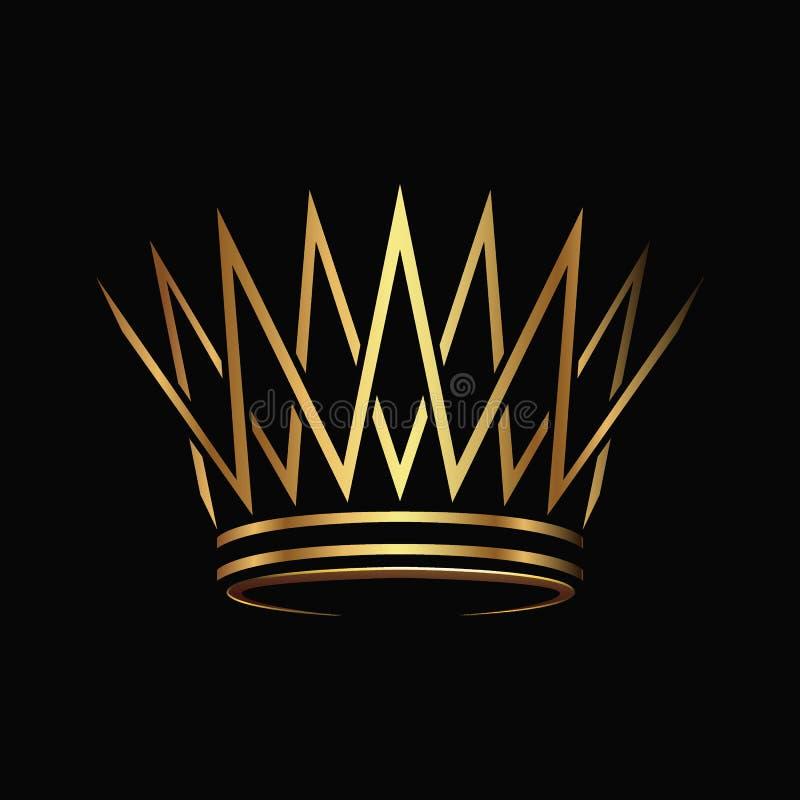 Golden Crown Logo Abstract Design Vector. Stock Vector
