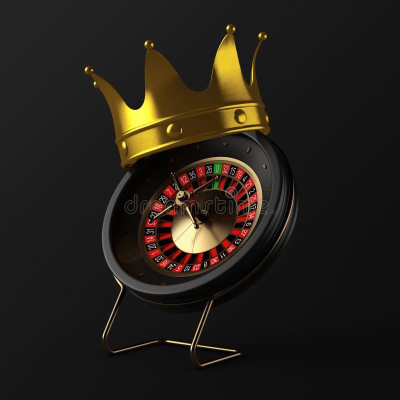 Golden Crown over Black Casino Roulette Wheel. 3d Rendering. Golden Crown over Black Casino Roulette Wheel on a black background 3d Rendering royalty free illustration
