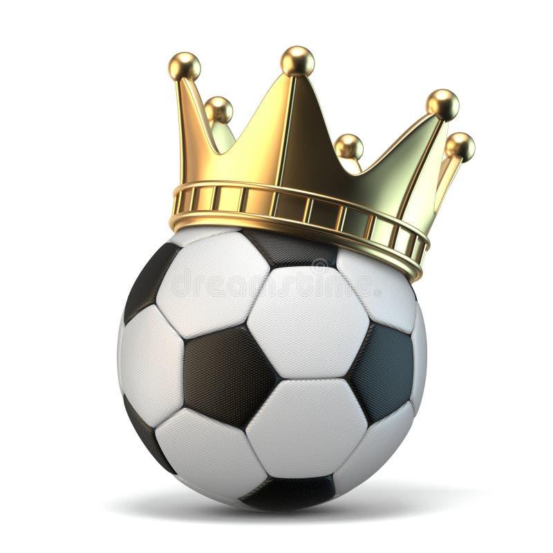 Golden crown on soccer ball 3D royalty free illustration