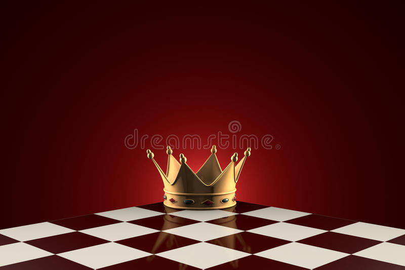Golden Crown (symbol of power). Chess metaphor. Gold crown on the chessboard. Dark red artistic background vector illustration