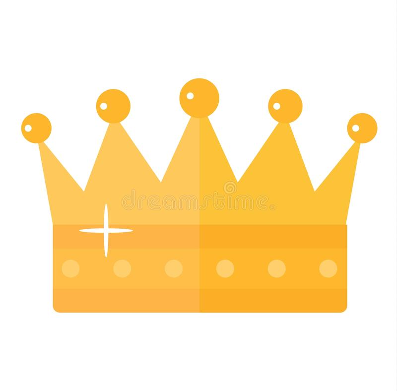 Golden crown vector illustration. Vector illustration golden crown with red gemstone isolated on white. Golden crown icon and success authority crown. Gold royalty free illustration
