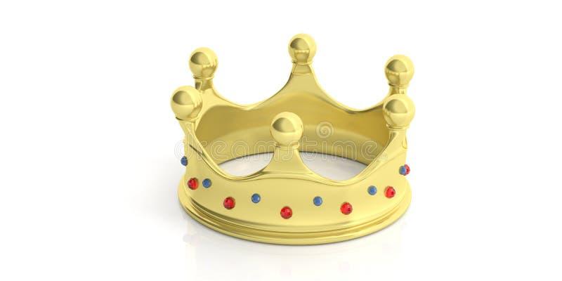 Golden crown on white background. 3d illustration royalty free illustration