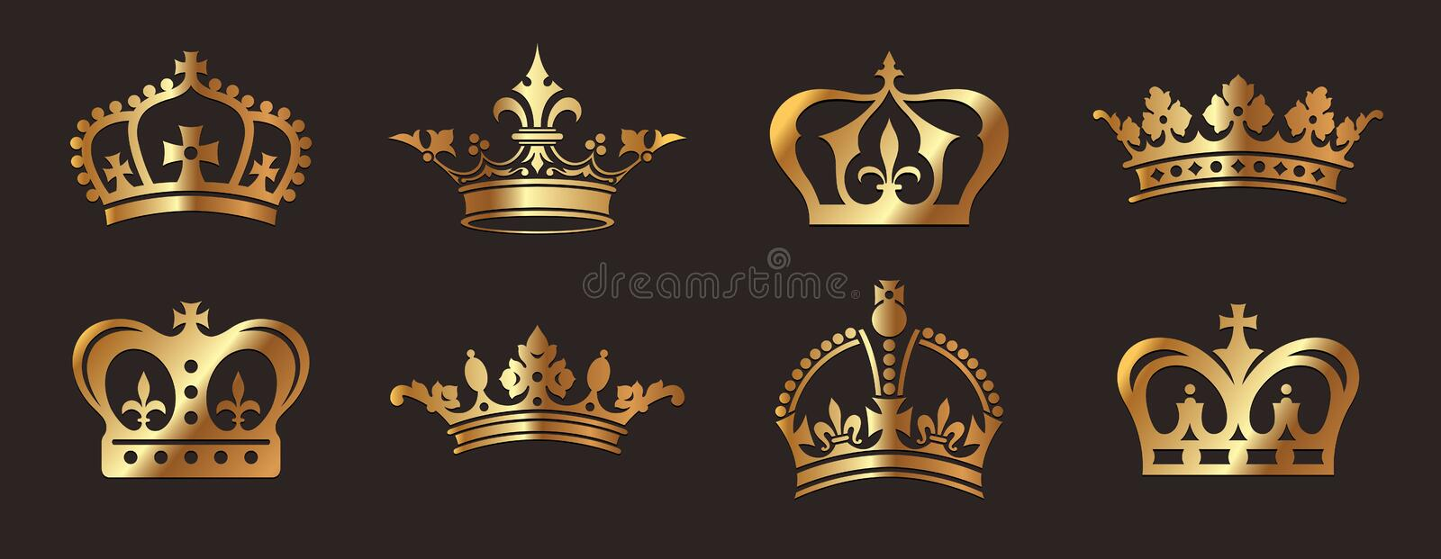 Download Golden Crowns stock vector. Image of regal, jeweled, cross - 30752821