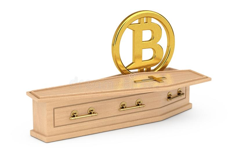 Golden Cryptocurrencies Bitcoin Symbol Sign in Wooden Coffin With Golden Cross and Handles. 3d Rendering royalty free illustration