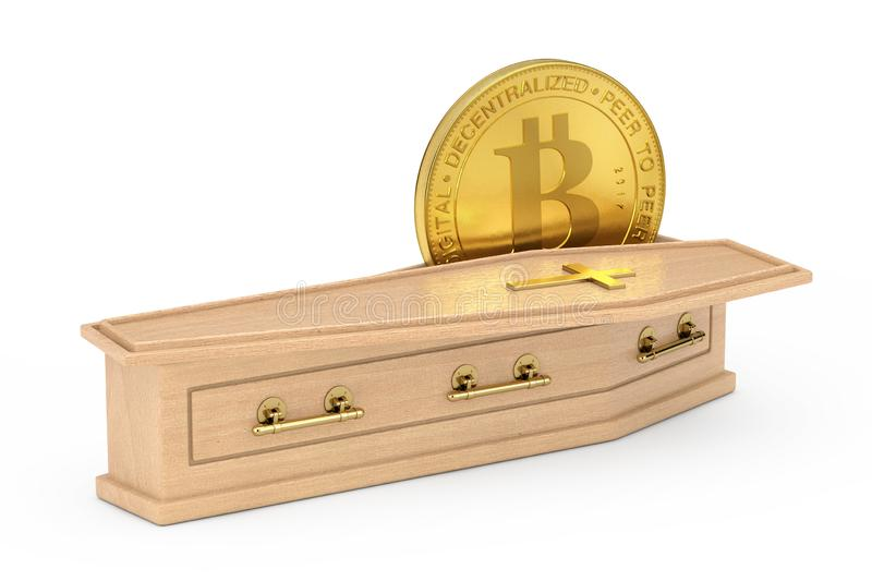 Golden Cryptocurrencies Bitcoin in Wooden Coffin With Golden Cross and Handles. 3d Rendering royalty free illustration