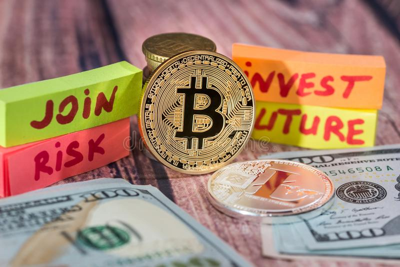 Golden cryptocurrency bitcoin coin and arrows concept. stock photo
