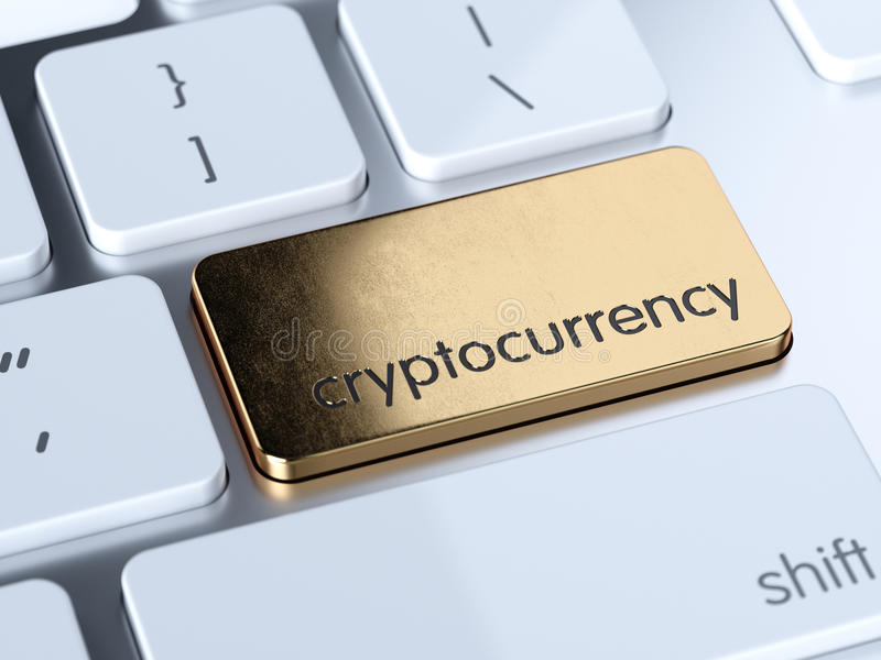 Golden cryptocurrency button. Golden cryptocurrency service sign button on white computer keyboard. 3d rendering concept royalty free illustration
