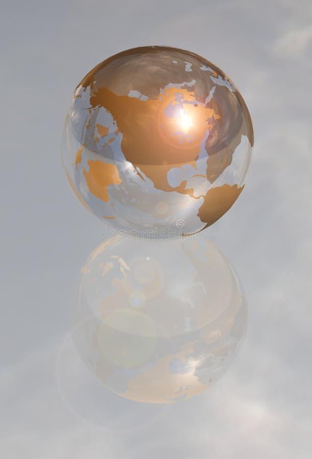 Golden Crystal Globe North America 3d Stock Image