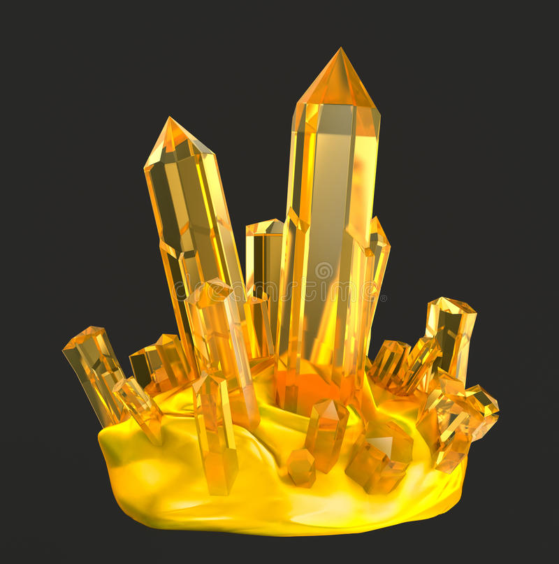 Golden crystals stock illustration