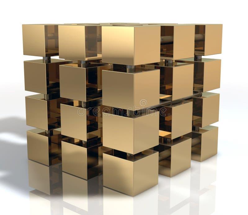 Golden Cube royalty free illustration