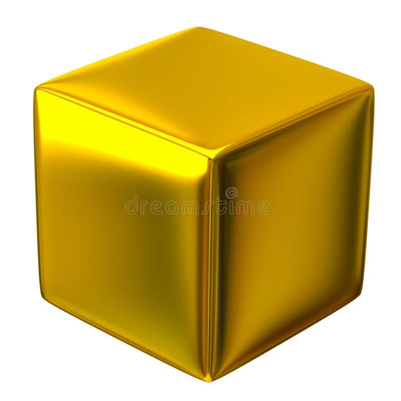 Golden cube stock illustration