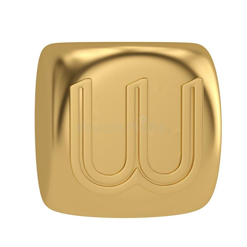 Golden cube alphabet isolated on white background 3D illustration royalty free illustration