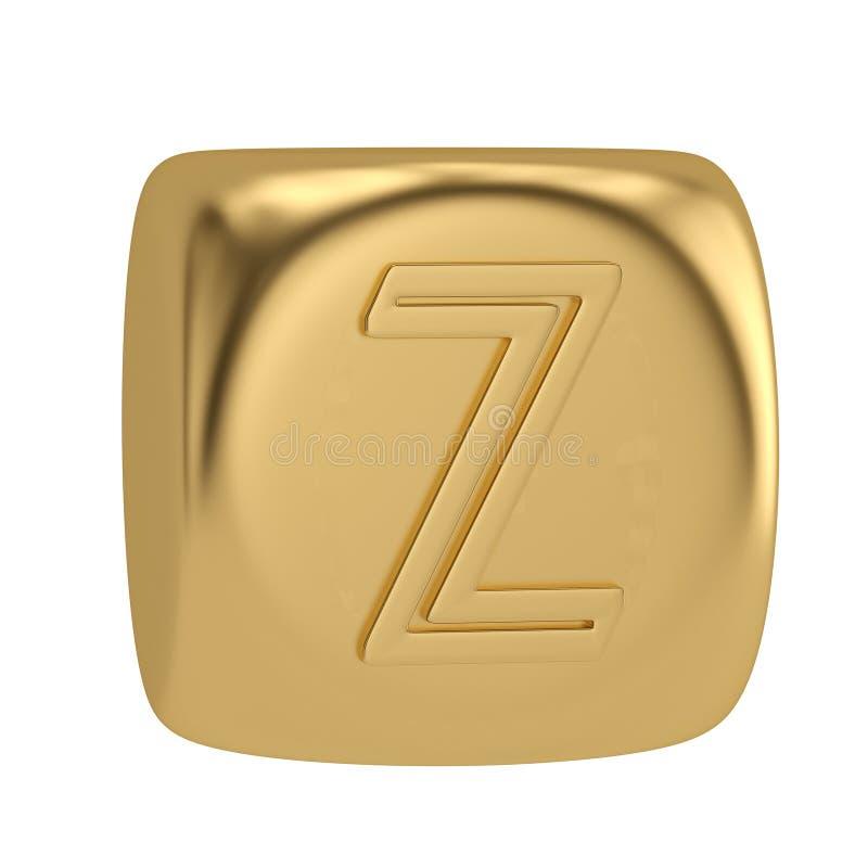 Golden cube alphabet isolated on white background 3D illustration vector illustration