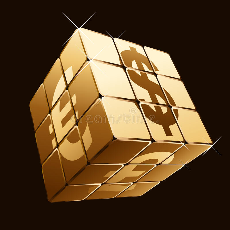 Golden cube with currency signs stock illustration