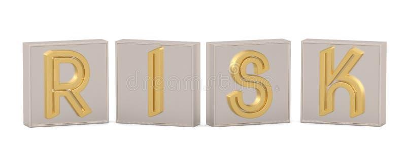Golden cube word risk isolated on white background 3D illustration royalty free illustration