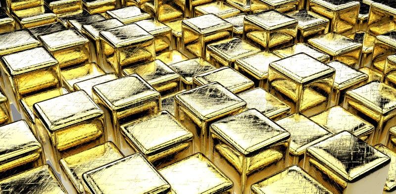 Download Golden cubes stock illustration. Image of solid, block - 26583046