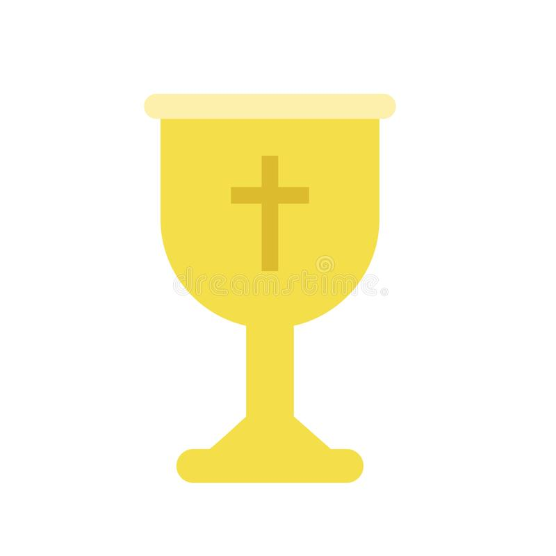 Golden cup or goblet chalice for Christian worship. Liturgical vessel for sacramental wine or holy communion. Isolated vector illustration