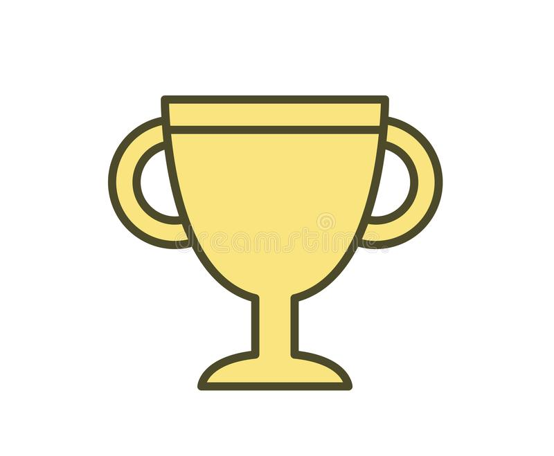 Golden cup icon, first prize. Line colored vector illustration. Isolated on white background vector illustration