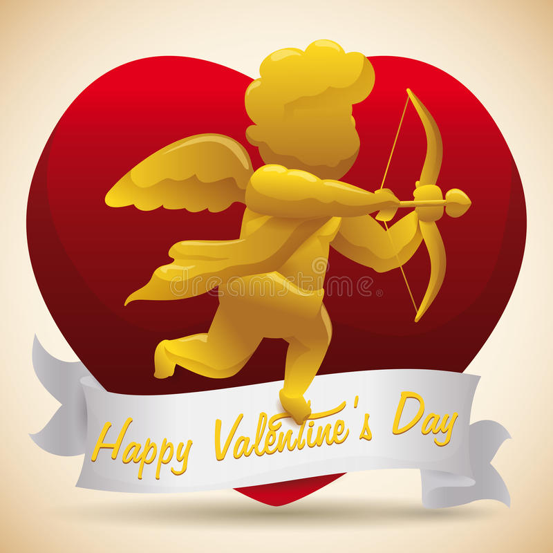 Golden Cupid with Arrow and Bow on Shiny Heart for Valentine's Day, Vector Illustration royalty free stock photos