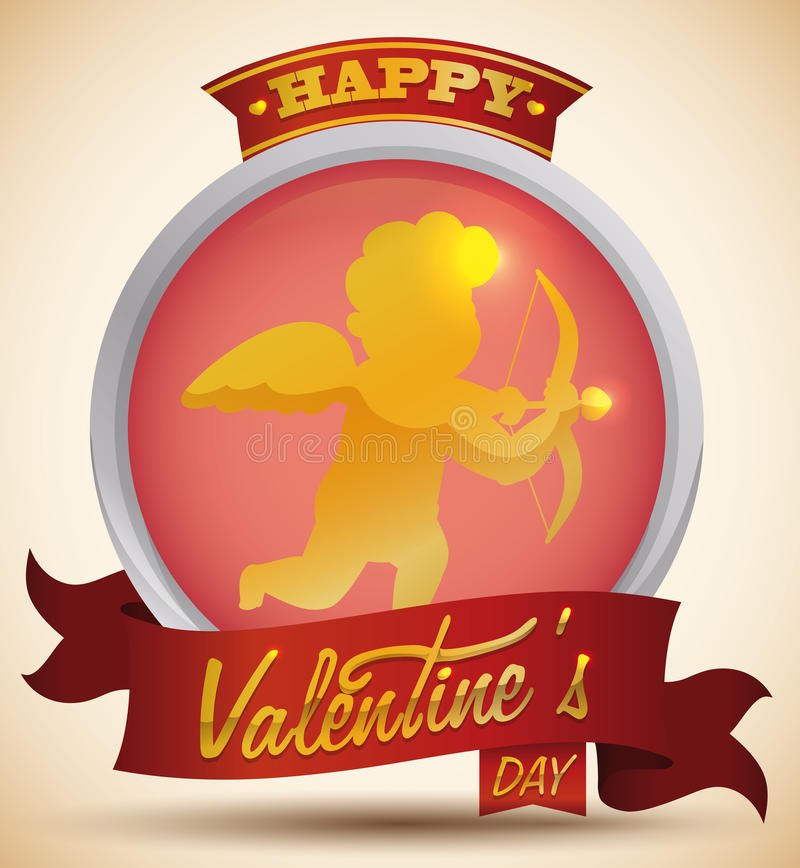 Golden Cupid in a Silver Button and Red Ribbons Celebrating Valentine's Day, Vector Illustration stock photos