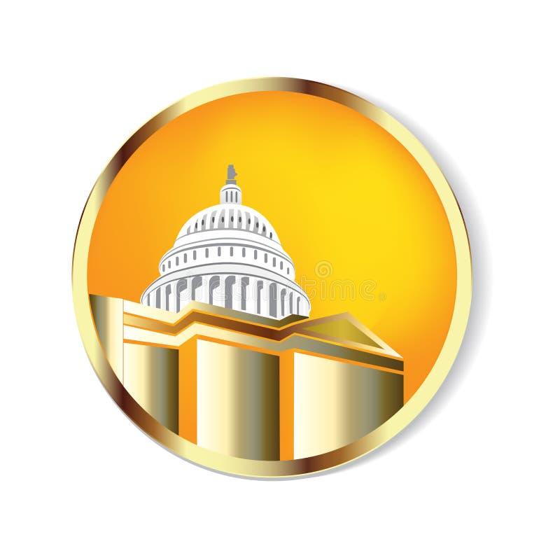 Golden Cupola Building logo vector. Capitol building vector logo icon background. Capitol building vector logo icon background image graphic illustration luxury vector illustration