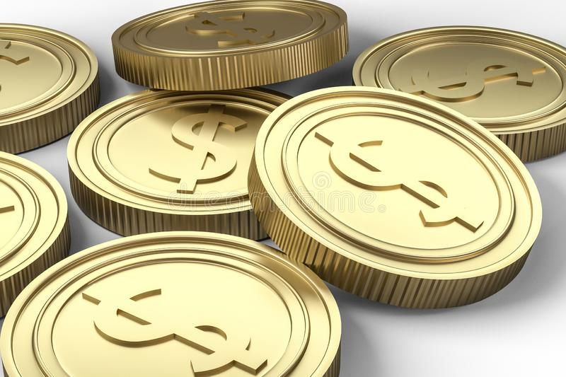 golden currency coins with white background, 3d rendering stock illustration
