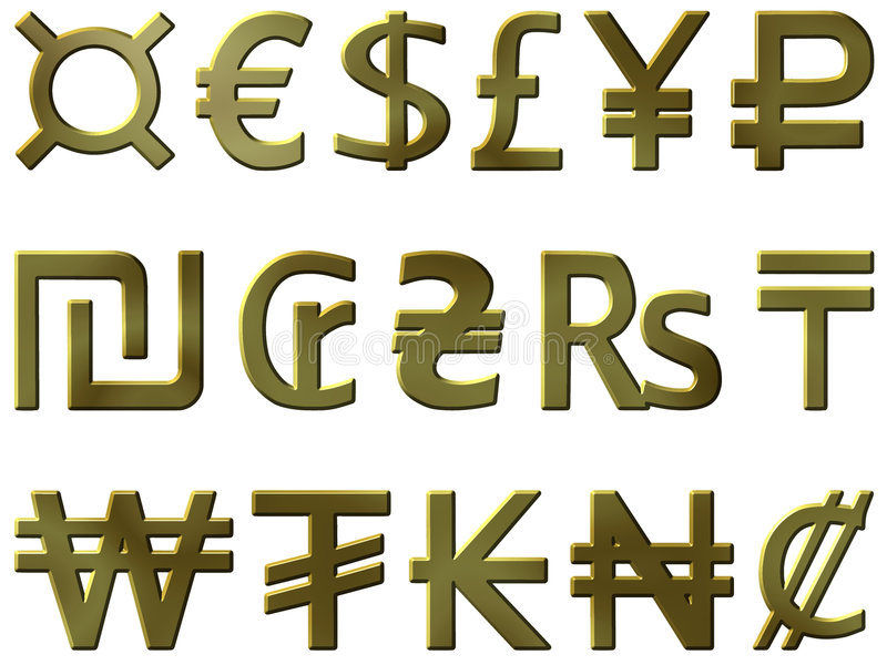 Download Golden Currency Symbols 1 Royalty Free Stock Photo - Image: 5758855