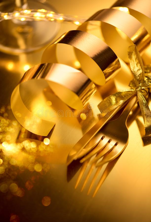 Golden cutlery, luxury Christmas table settings. Table served for Christmas holiday dinner. Xmas and New Year stock photos
