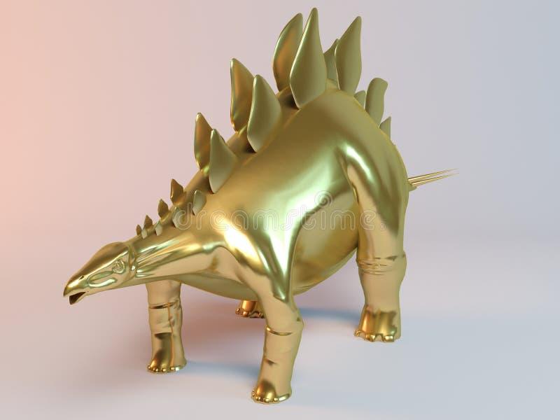Golden 3D animal (stegosaurus) vector illustration
