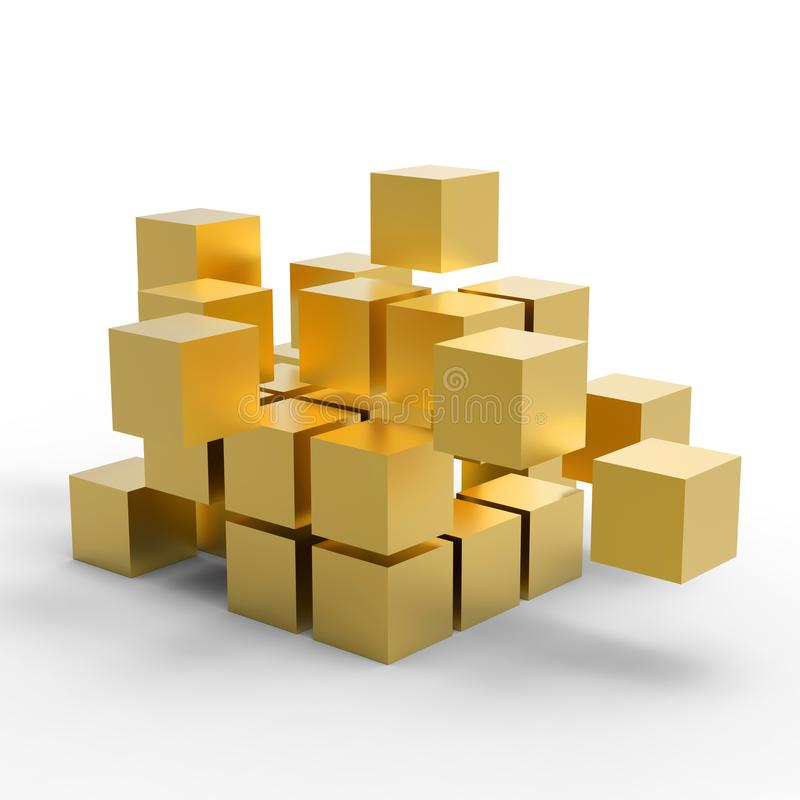 Golden 3D Cubes, 3D Illustration. Golden 3d cubes on isolated white background, ready to use in business presentation royalty free illustration