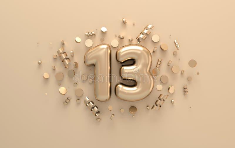 Golden 3d número 13 con cintas festivas de confetti y espiral Plantilla de afiche para celebrar la fiesta de aniversario del 13 3 libre illustration
