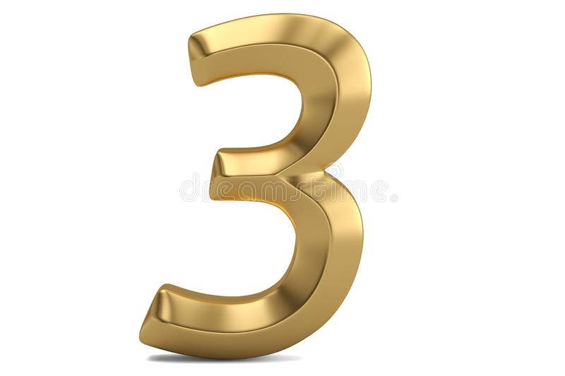 Golden 3D numeral isolated on white background. 3D illustration.  stock illustration