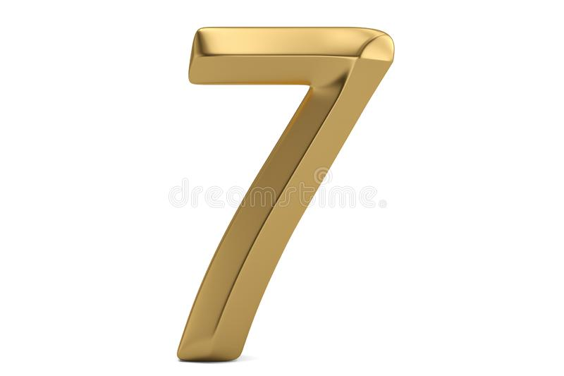 Golden 3D numeral isolated on white background. 3D illustration.  vector illustration