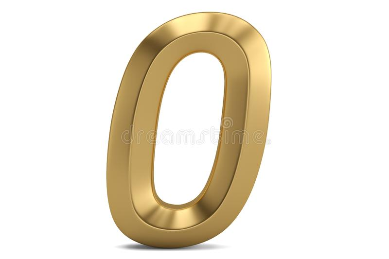 Golden 3D numeral isolated on white background. 3D illustration.  royalty free illustration