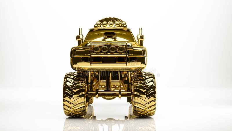 golden 3d rendering of a big car inside a studio royalty free illustration