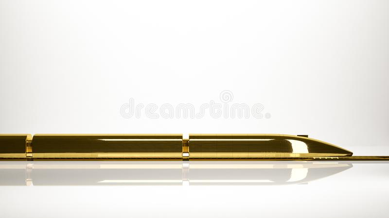 Golden 3d rendering of a fast train inside a studio. On a white background vector illustration