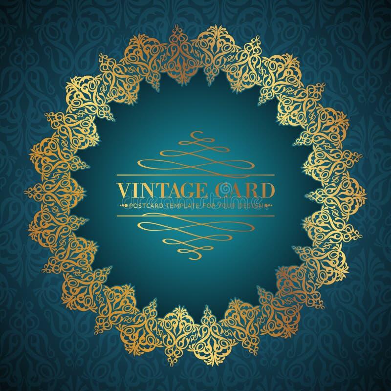Golden damask circle. Golden damask circle over blue background for your vintage card. Vector illustration royalty free illustration