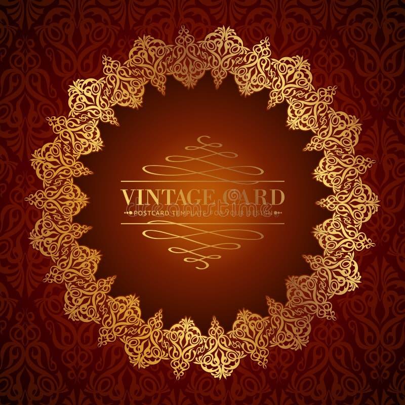 Golden damask circle. royalty free illustration
