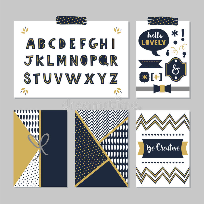 Golden and dark navy blue alphabets and design elements set. On trendy gray background royalty free illustration