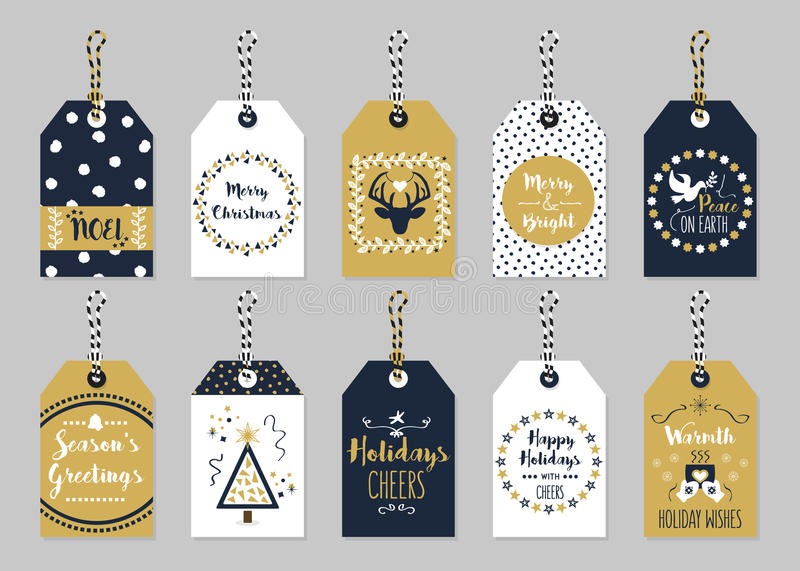Golden and dark navy blue Christmas and Holiday gift tags set royalty free illustration