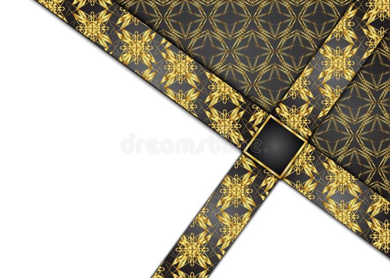 Golden and Dark vintage background. Blank for message. stock illustration